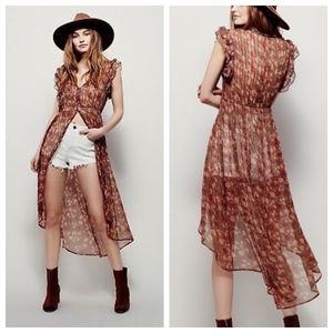 Free People Lady of Avalon Tunic Top Floral Boho